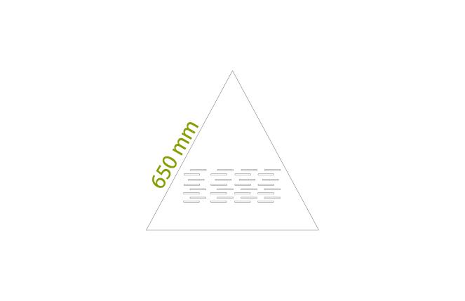 Triangoli 650 mm - Minimo: 1 box da circa 4,58 mq x colore, tot = 25 pz.