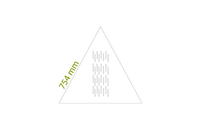 Triangoli 754 mm - Minimo: 1 box da circa 5,17 mq x colore, tot = 21 pz.